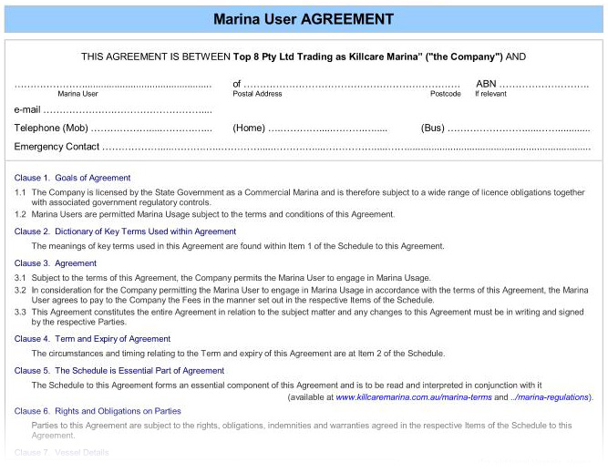 Welcome Package : Agreement. Marina User. Form