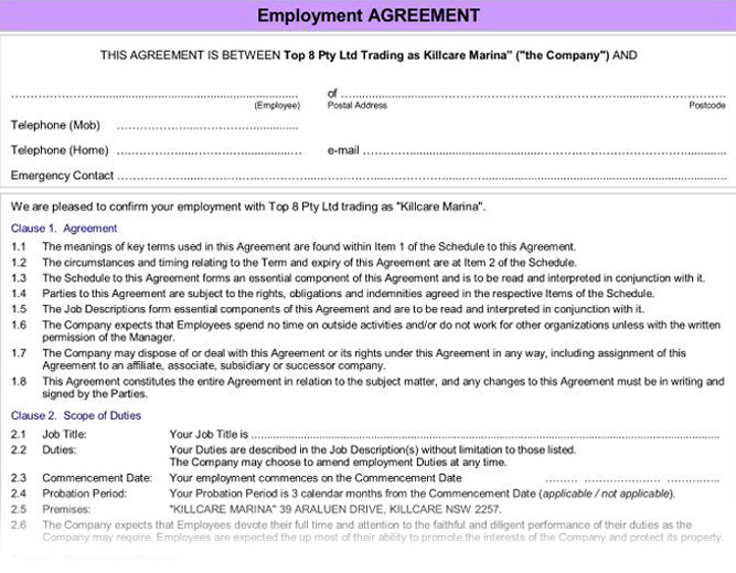 Agreements : Agreement. Employee. Form